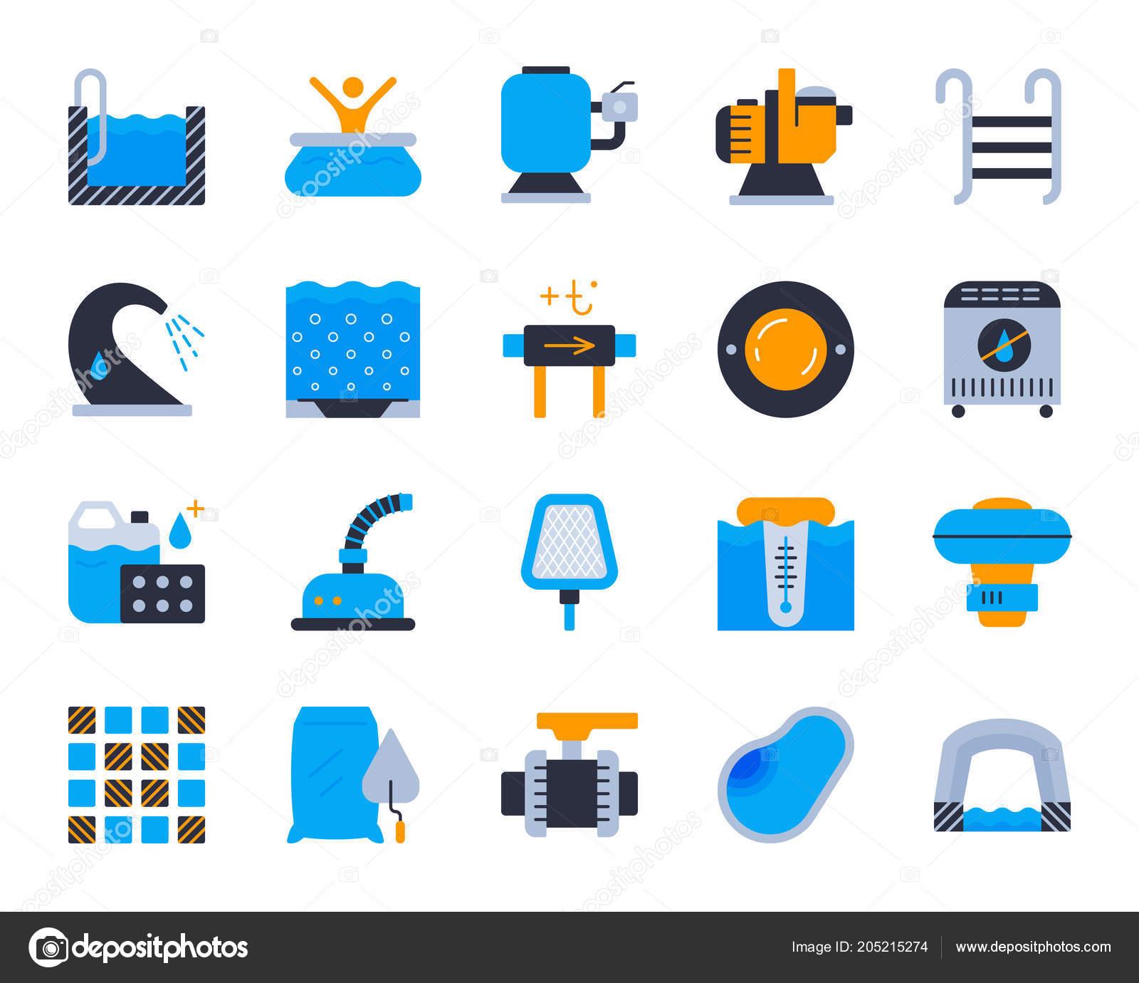 Icones De Couleur Plat Simple Pour Le Materiel Piscine Vector