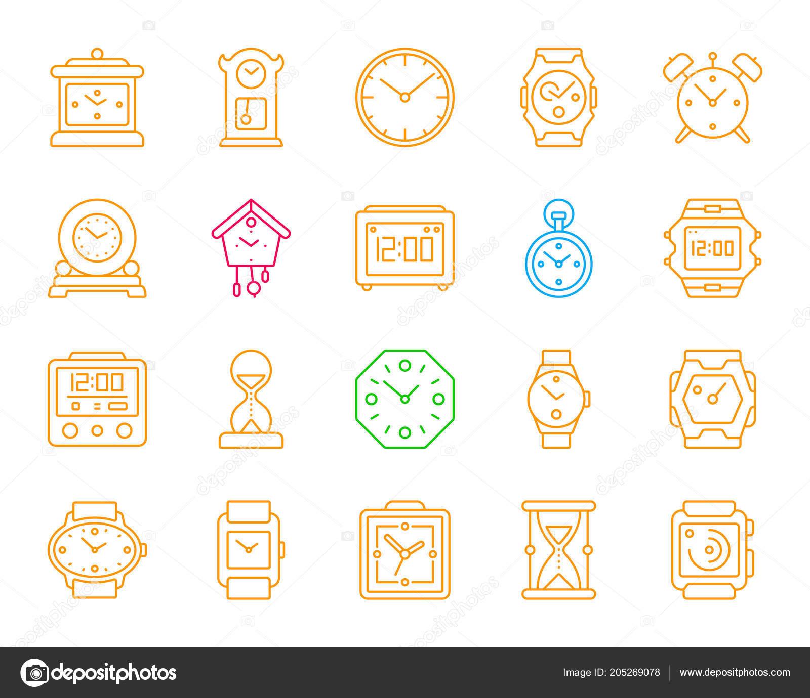 40b49c119574 Reloj simple línea de color iconos conjunto de vectores — Vector de stock
