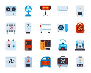 Hvac flat icons set. Web sign kit of climatic equipment. Fan pictogram collection includes hygrometer, humidifier, convector. Simple hvac cartoon colorful icon symbol on white. Vector Illustration clip art vector