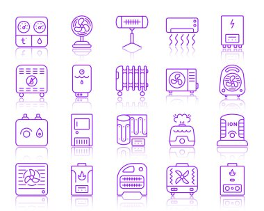 Hvac thin line icons set. Outline vector monochrome web sign kit of climatic equipment. Fan linear icon collection includes cooling, cleansing, convector. Simple hvac symbol with reflection isolated clip art vector