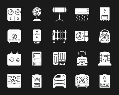 Hvac silhouette icons set. Isolated sign kit of climatic equipment. Fan monochrome pictogram collection includes infrared heater, conditioner, ionizer. Simple white contour symbol. Hvac vector icon clip art vector