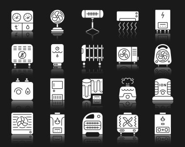 Hvac silhouette icons set. Isolated web sign kit of climatic equipment. Fan pictogram collection includes hygrometer, humidifier, convector. Simple hvac symbol with reflection. White vector icon shape clip art vector