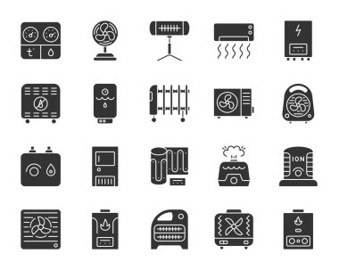 Hvac silhouette icons set. Isolated monochrome web sign kit of climatic equipment. Fan pictogram collection includes blower heating, ionizer, humidifier. Simple hvac symbol Vector Icon shape for stamp clip art vector