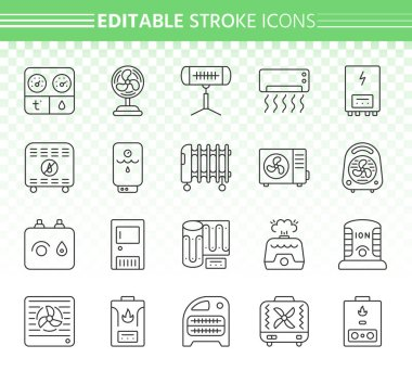 Hvac thin line icons set. Outline web sign kit of climatic equipment. Fan linear icon collection includes infrared heater, conditioner, ionizer. Editable stroke without fill. Hvac simple vector symbol clip art vector