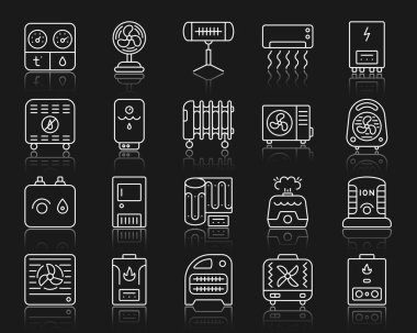 Hvac thin line icons set. Outline web sign kit of climatic equipment. Fan linear icon collection includes convector, oil cooler, heat floor. Vector simple hvac white contour symbol with reflection clip art vector
