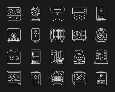 Hvac thin line icons set. Outline monochrome web sign kit of climatic equipment. Fan linear icon collection includes desiccant, purifier, ventilator. Simple hvac white symbol vector Illustration clip art vector