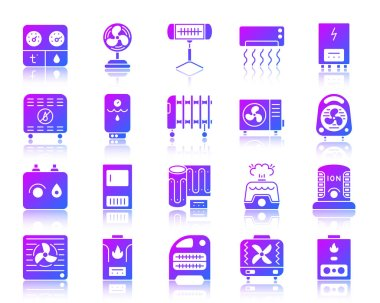 Hvac glyph icons set with reflection. Violet sign kit of climatic equipment. Fan vector pictogram collection includes cooling, cleansing, convector. Purple contour simple hvac icon isolated on white clip art vector