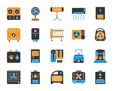 Hvac silhouette icons set. Isolated sign kit of climatic equipment. Fan pictogram collection includes steam generator, air dryer, purifier, boiler. Simple color hvac contour symbol. Vector Icon shape clip art vector