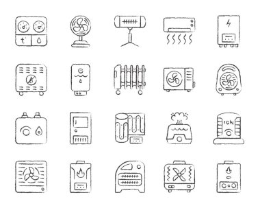 Hvac charcoal icons set. Grunge outline sign kit of climatic equipment. Fan linear icon pack includes steam generator, air dryer, purifier. Hand drawn simple hvac symbol isolated Vector Illustration clip art vector