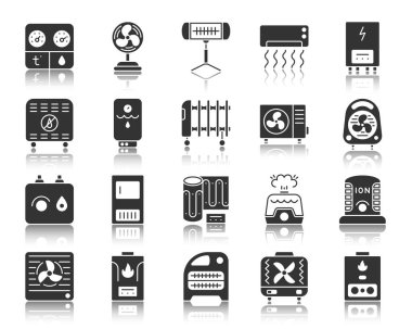 Hvac silhouette icons set. Monochrome web sign kit of climatic equipment. Fan pictogram collection includes cooling, cleansing, convector. Simple vector black symbol. Hvac shape icon with reflection clip art vector