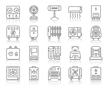Hvac thin line icons set. Outline sign kit of climatic equipment. Fan linear icon collection includes steam generator, air dryer, purifier. Simple hvac black symbol with reflection vector Illustration clip art vector