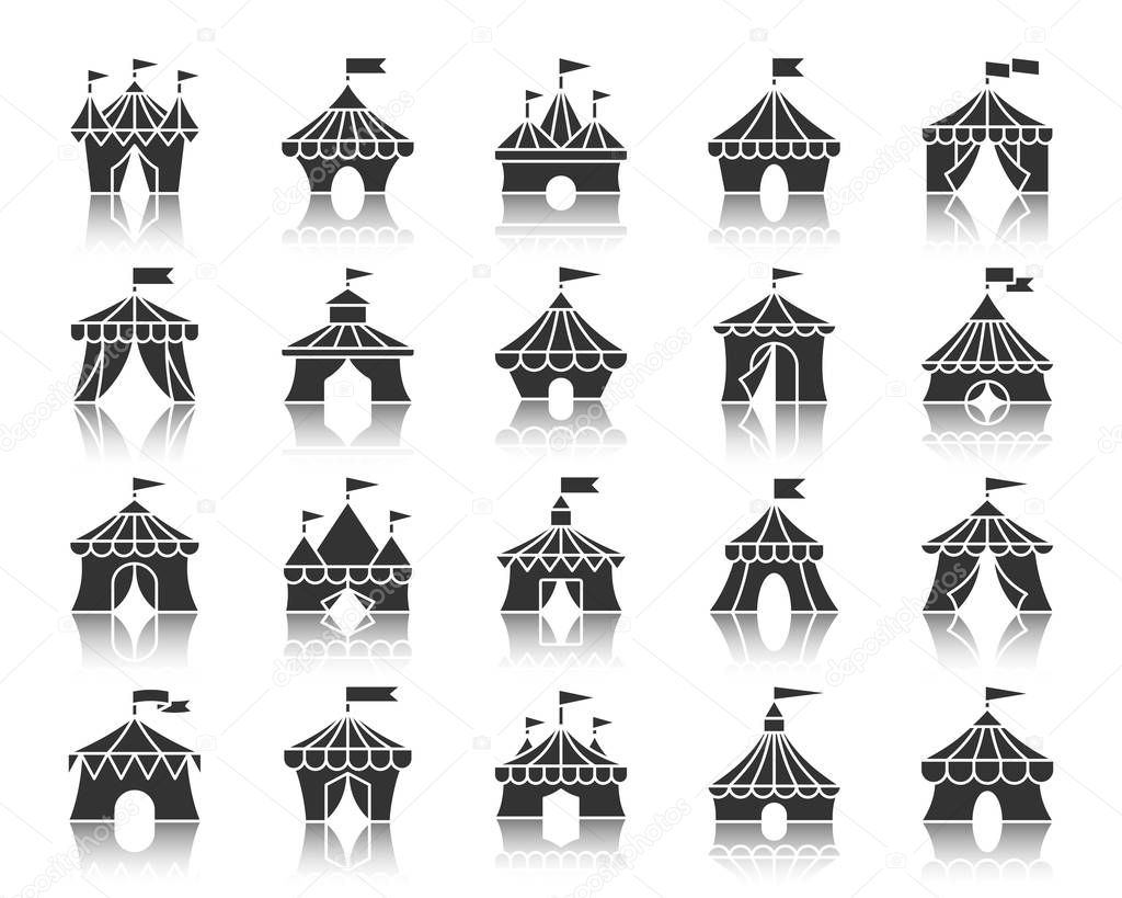 Circus Tent black silhouette icons vector set
