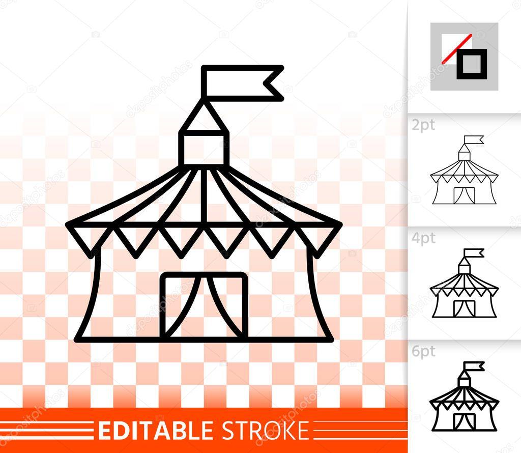 Circus Tent simple black line vector icon