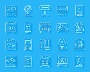 Hvac paper cut art line icons set. Sign kit of climatic equipment. Fan linear pictogram collection includes convector, oil heater, heat floor. Simple hvac vector icon shape. Material design symbol clip art vector