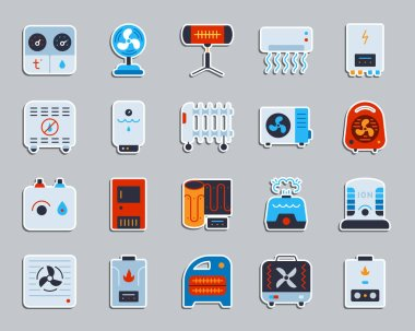 Hvac sticker icons set. Flat sign kit of climatic equipment. Fan pictogram collection includes blower heating, ionizer, humidifier. Simple hvac symbol. Icon for patch, badge, pin. Vector Illustration clip art vector