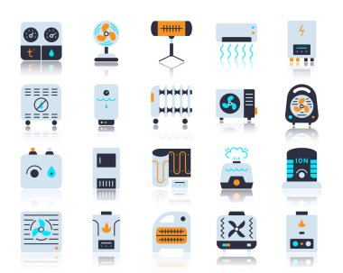 Hvac flat icons set. Vector sign kit of climatic equipment. Fan pictogram collection includes steam generator, air dryer, purifier. Simple hvac cartoon icon symbol with reflection isolated on white clip art vector