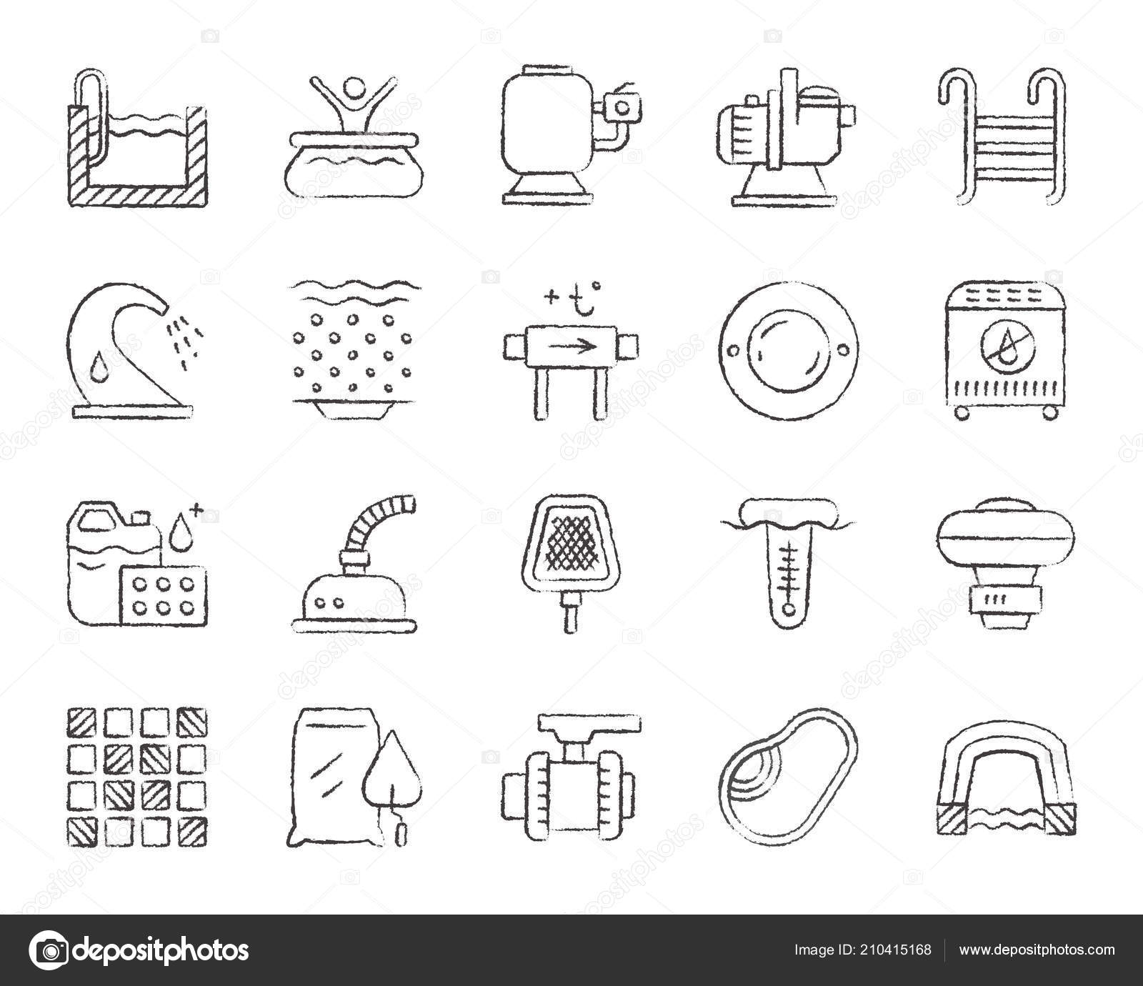 pool equipment charcoal draw line icons vector set stock vector