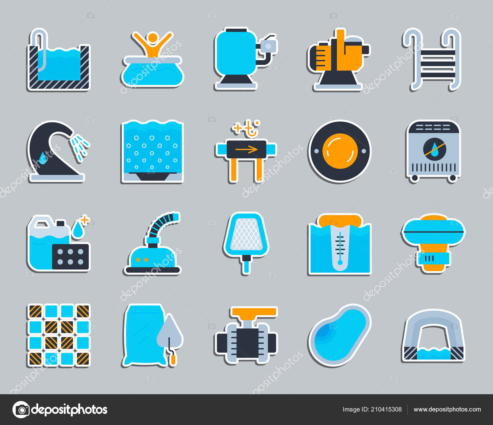 Pool Equipment patch sticker icons vector set — Stock Vector