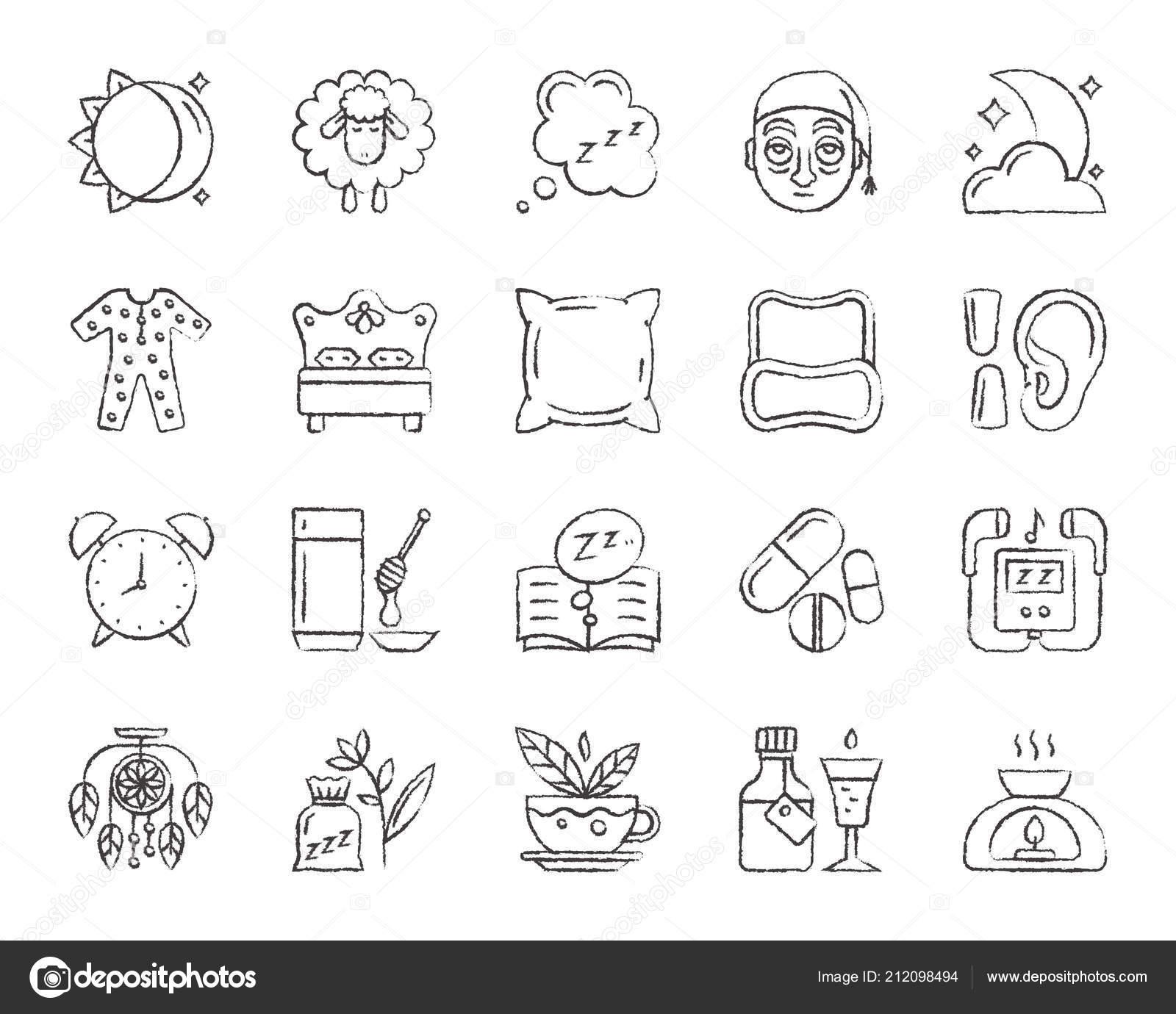 Schlaflosigkeit Kohle Zeichnen Linie Symbole Vektor Satz
