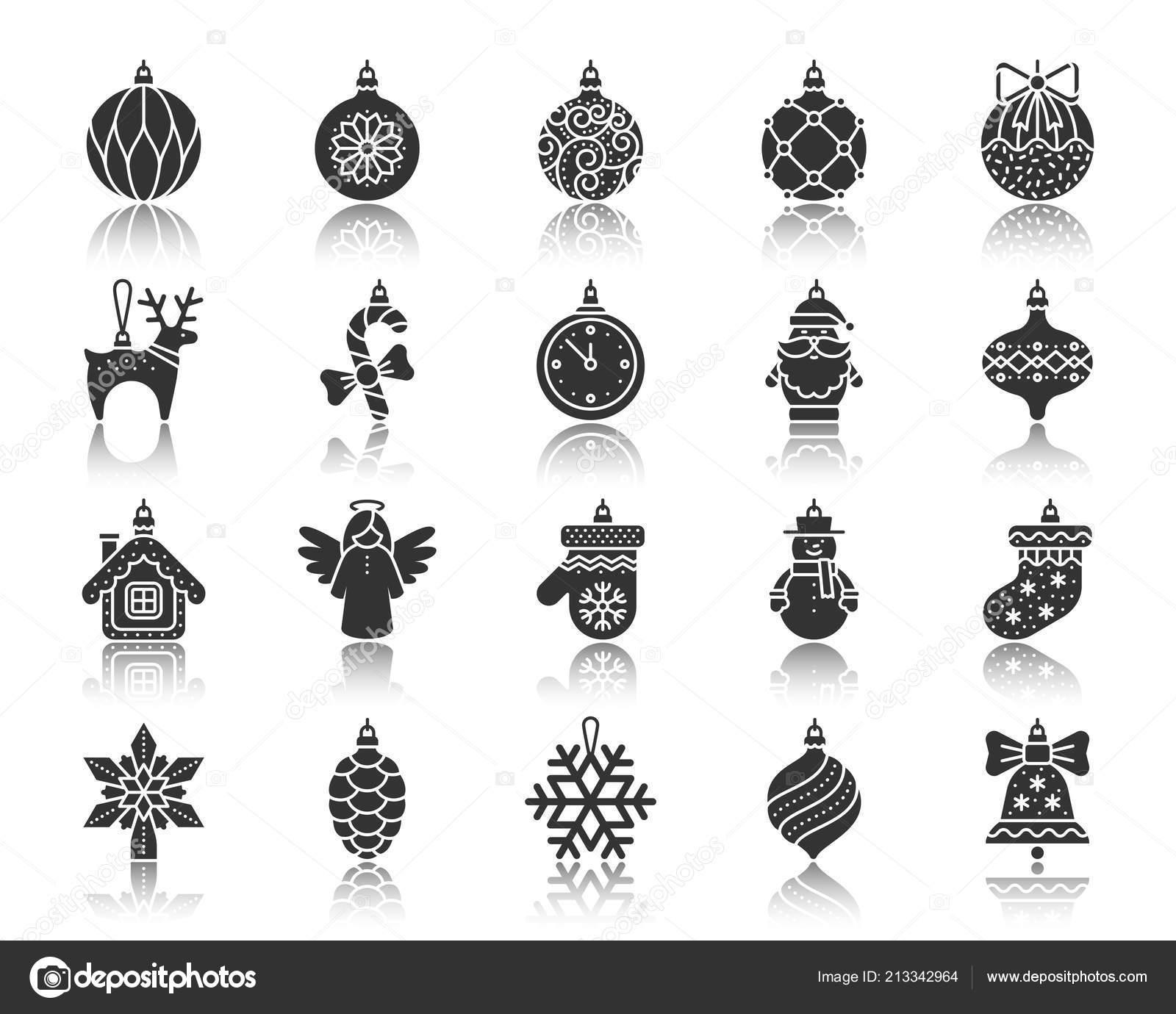 Hanging Christmas Ornaments Silhouette.Xmas Tree Decor Black Silhouette Icons Vector Set Stock