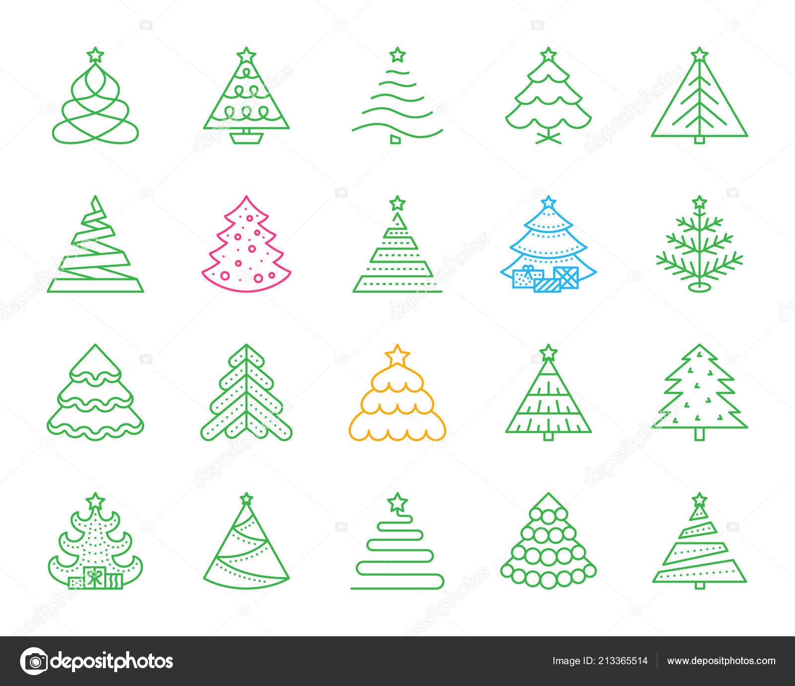 Christmas Tree Icons.Christmas Tree Simple Color Line Icons Vector Set Stock