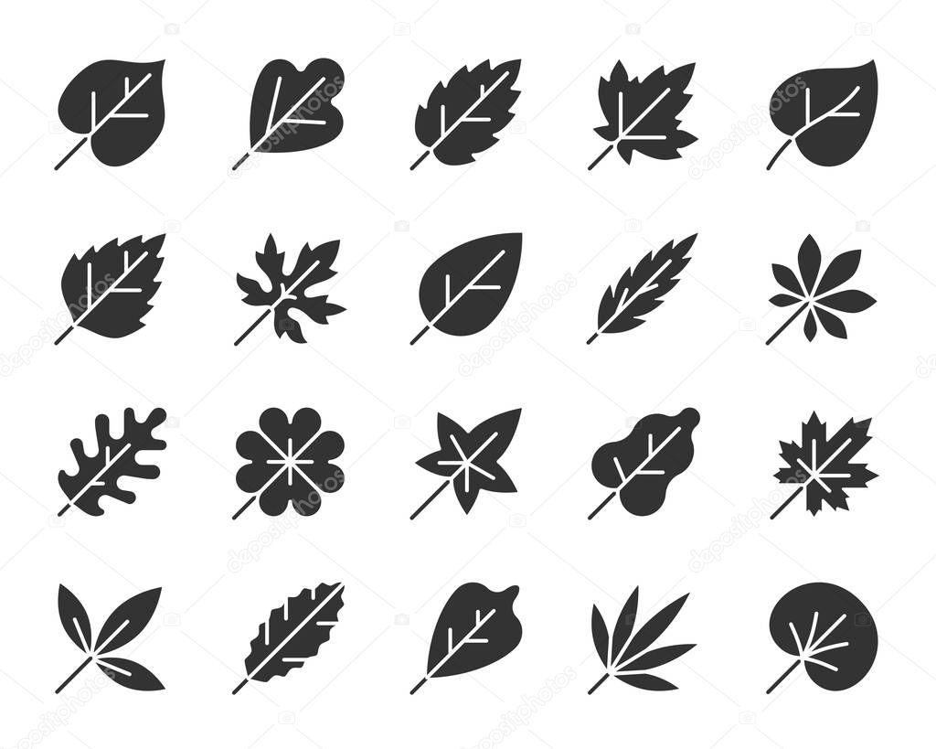 Organic Leaf black silhouette icons vector set