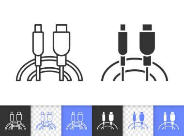 Usb Cable simple black line vector icon