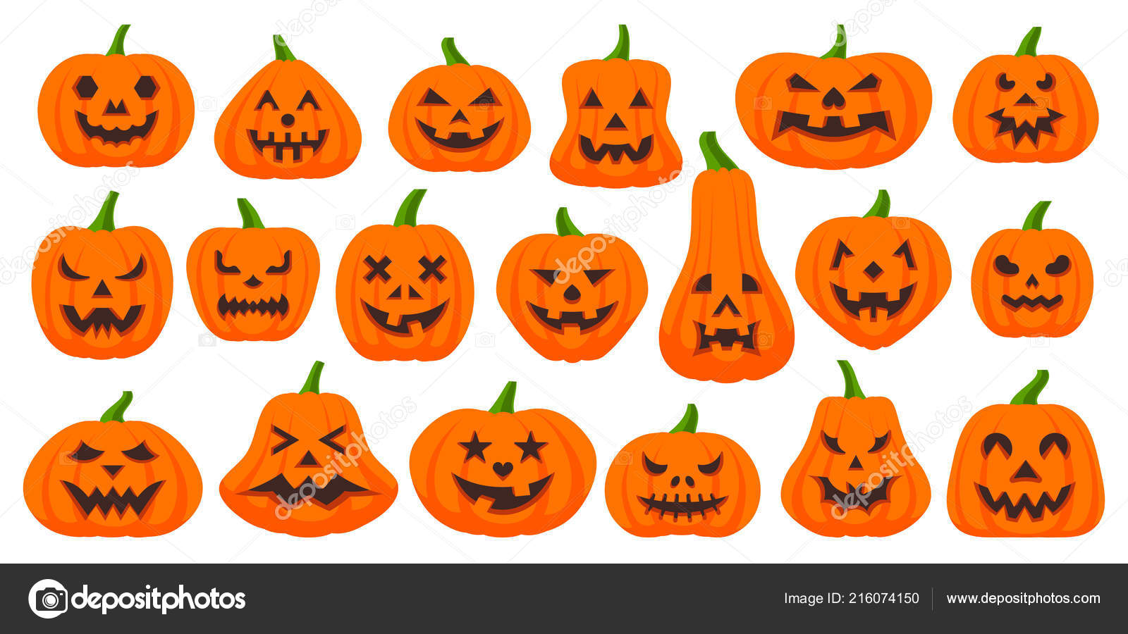 Jack O Lantern Simple Flat Color Icons Vector Set Stock Vector