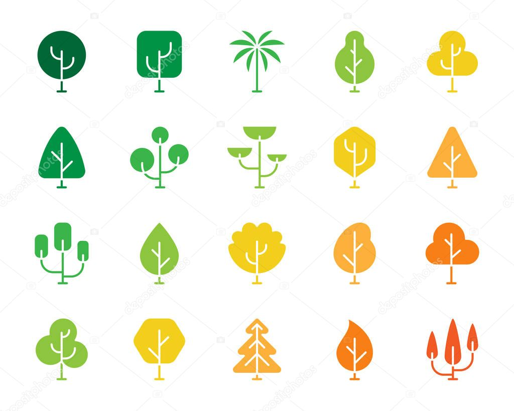 Geometric Trees color silhouette icons vector set