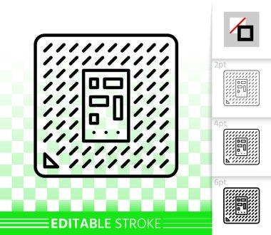 Microchip circuit simple black line vector icon