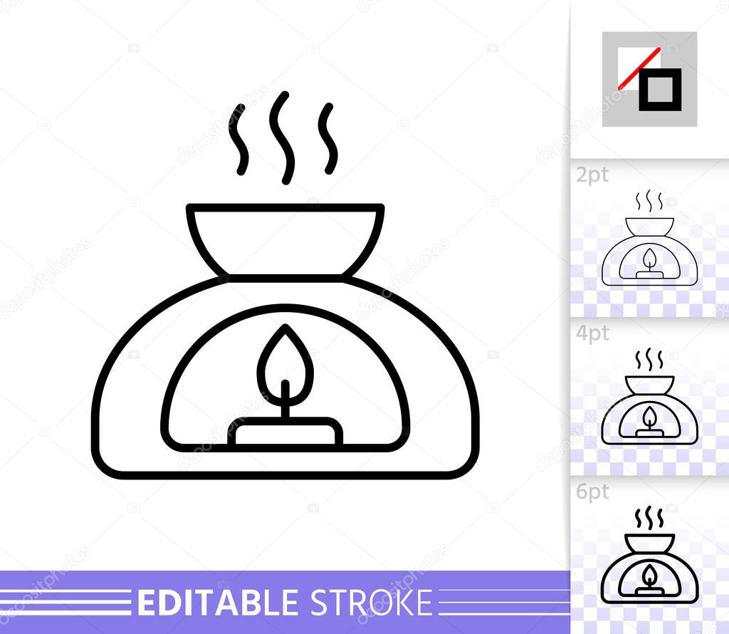 Aroma Lamp Thin Line Icon Aromatherapy Banner In Flat Style Meditation Poster Linear Pictogram Simple Illustration Outline Symbol Vector Sign Isolated On White Editable Stroke Icons Without Fill Premium Vector In
