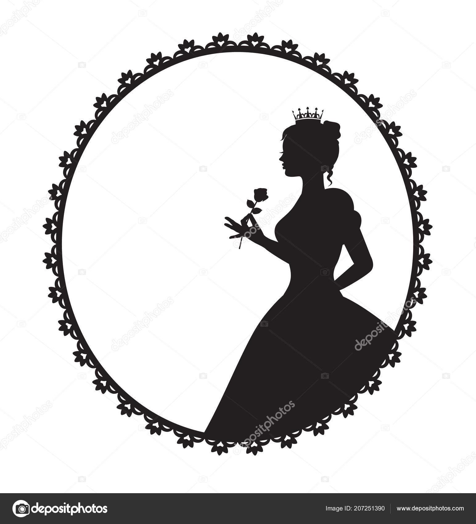 silhueta princesa vestido longo exuberante segurando uma rosa quadro