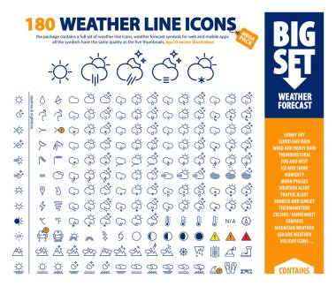 Big vector set of thin line weather icons, huge pack of weather forecast design elements, complex presentation of isolated day & night weather symbols, the package contains a bonus holiday set as well icon