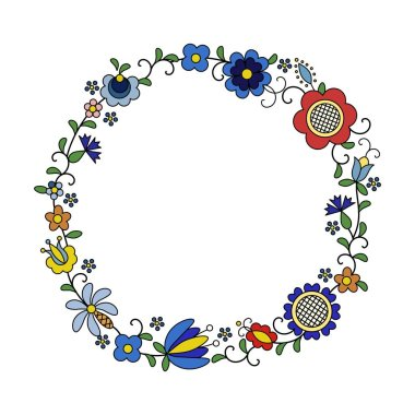 Traditional, modern Polish - Kashubian floral folk decoration vector, wzory kaszubskie, kaszubski wzr, haft