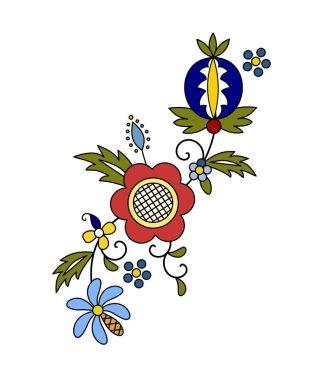Traditional, modern Polish - Kashubian floral folk decoration vector, wzory kaszubskie, kaszubski wzr, haft
