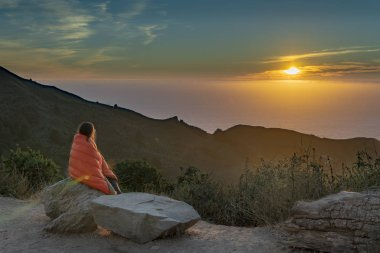 Sunset at our camp site in Los Padres National Forest near Highway 1 - California, USA