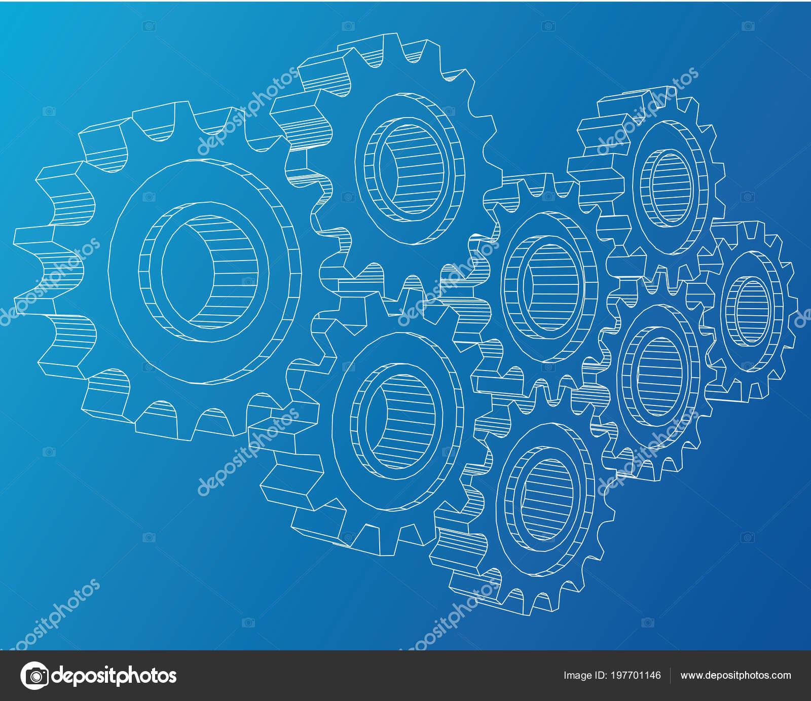 Engranajes de diseño industrial de fondo. Ilustración conceptual de ...