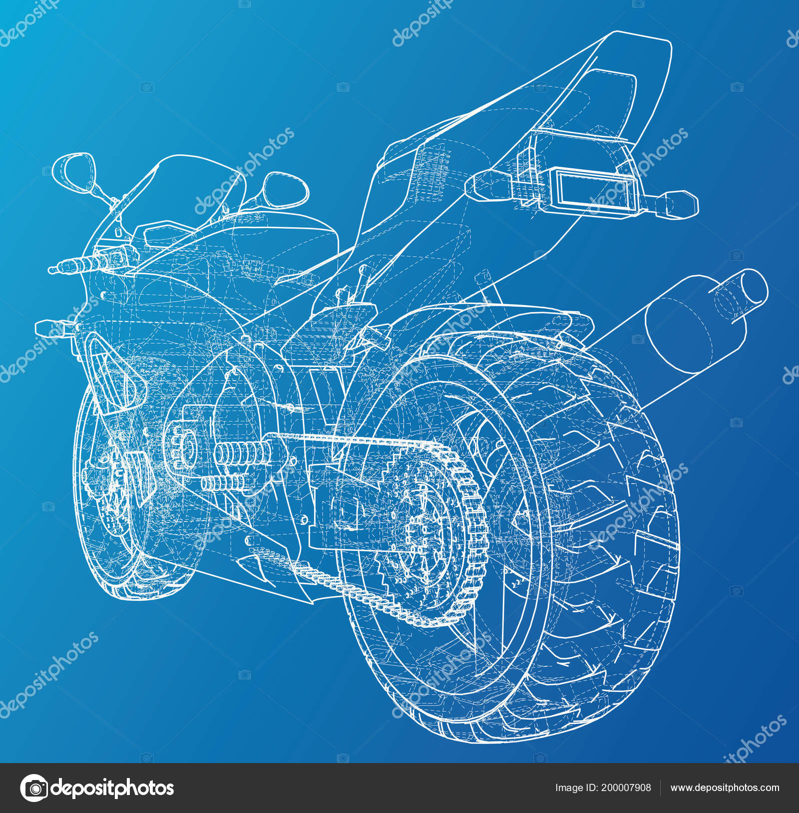 Sports bike technical wire-frame. EPS10 format. Vector created of 3d ...