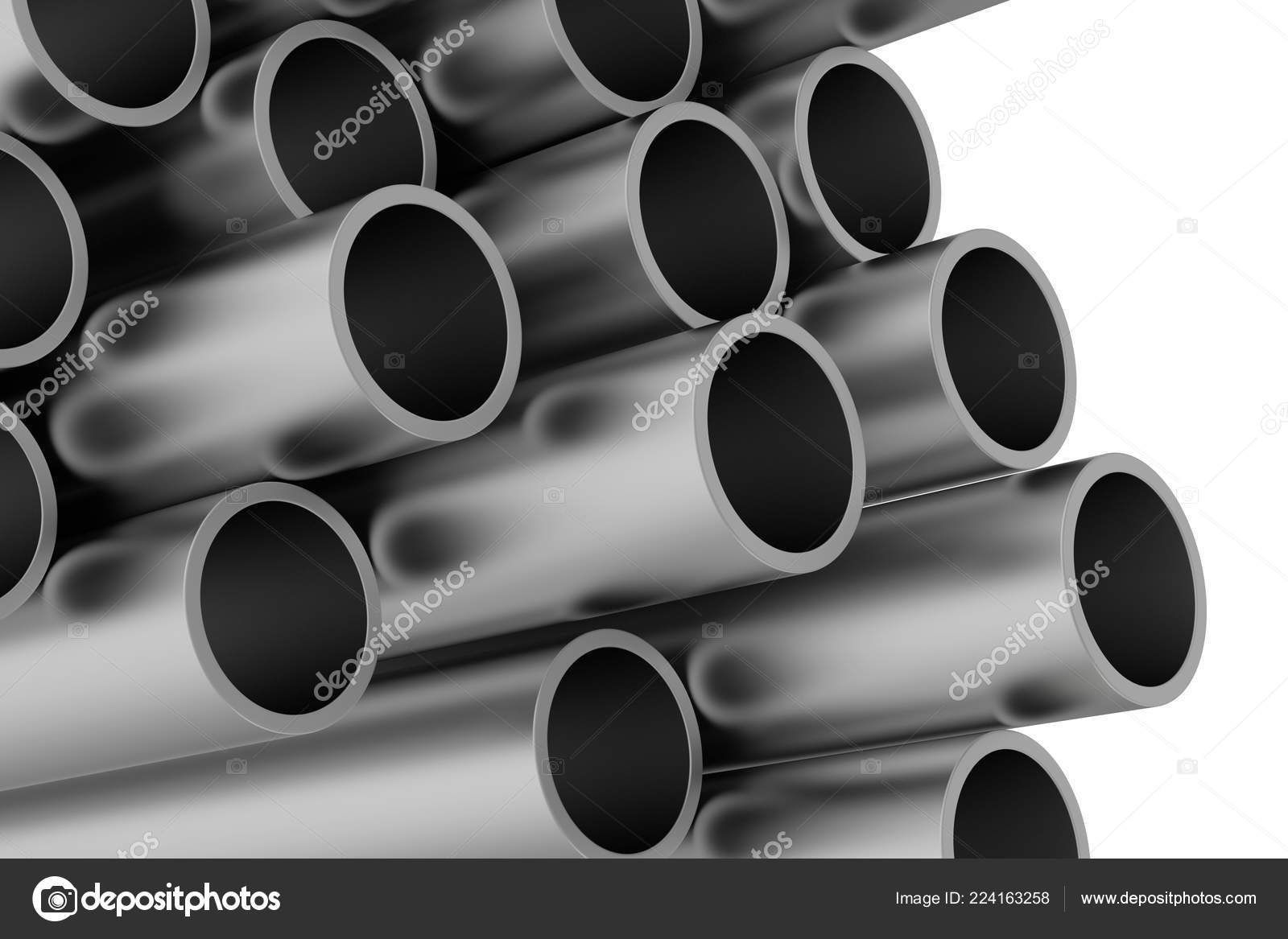 Stack of metal pipes  3d rendering on white background  — Stock