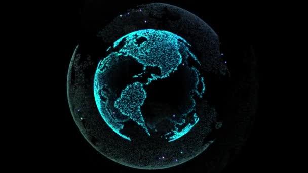 Globales Netzwerk verbunden. Digitaltechnik der Erde. Schleife nahtlose 4k video