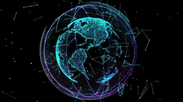 Digitální data zeměkoule. Abstraktní 3d vykreslování vědecké technologie datové sítě planety země. 4 k digitálním světě sítě