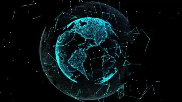 4k a föld közvetíti a modern digitális 3d-leképezést. varrás nélküli hurok. A földön forgó animáció.