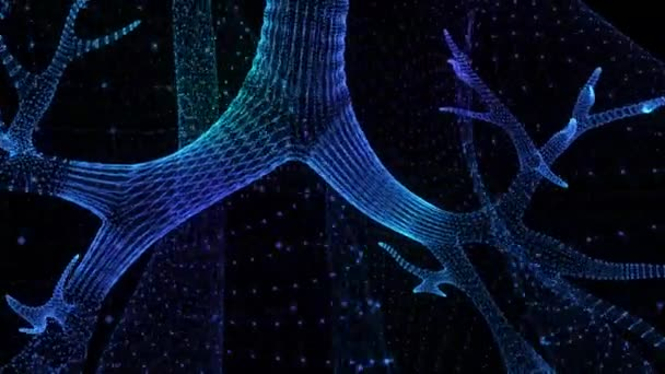 Rotating human lungs. Glowing blue light particles point of human lungs model. Seamless looping motion animated neurons in 3d virtual space