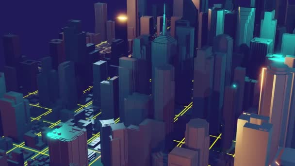 3d city rendering with lines and digital elements. Digital skyscrapers. Technology video concept