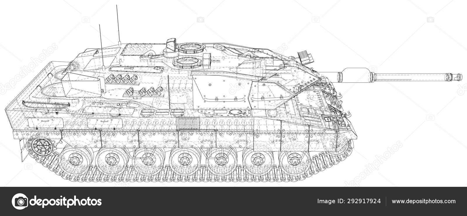Military machine technical wire-frame  EPS10 format  Vector