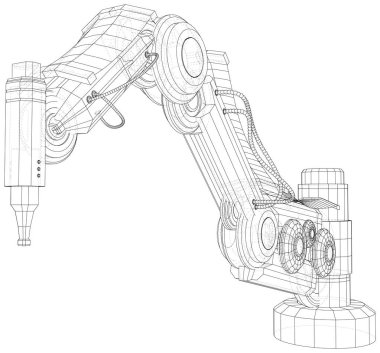 Robotic Arm Hand isolated on white. Technical wire-frame. Vector rendering of 3d