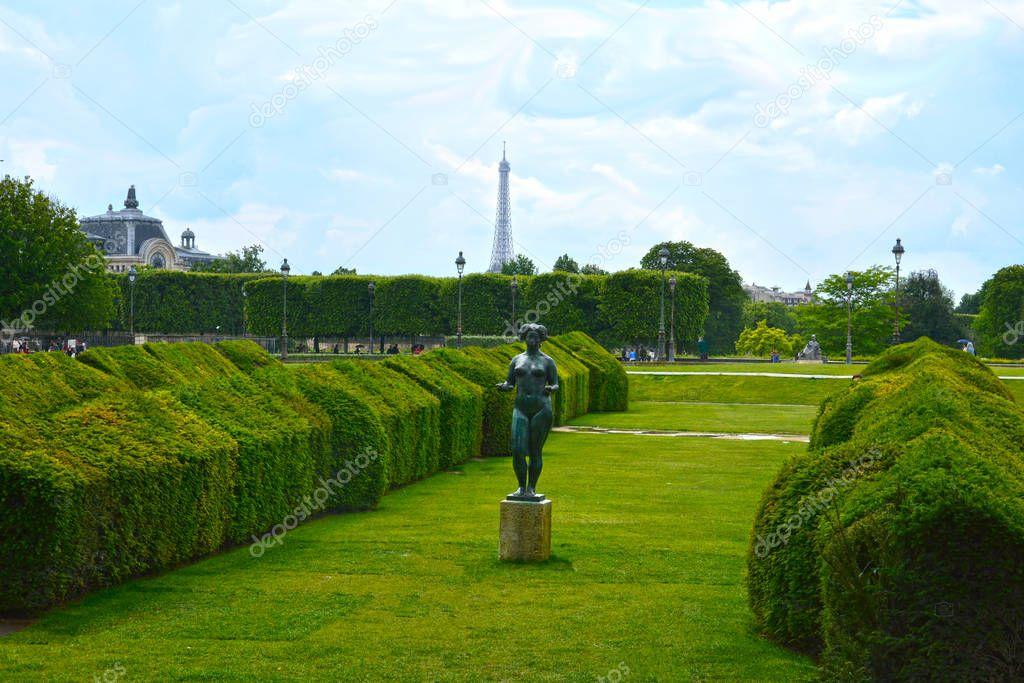 PARIS, FRANCE - MAY 25, 2019: Jardin des Tuileries (Tuileries garden, 1564). Jardin des Tuileries is a public garden located between Louvre Museum and Place de la Concorde