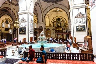 BURSA, TURKEY - JUNE 23, 2018 : Interior view of Ulu Camii (Grand Mosque) in Osmangazi, Bursa. Mosque is largest mosque and has art calligraphic writings.