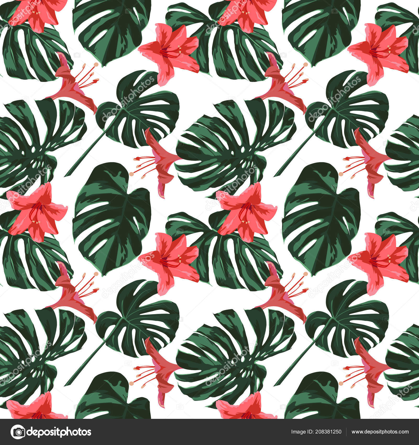 Tropical Print Jungle Seamless Pattern Vector Tropic Summer