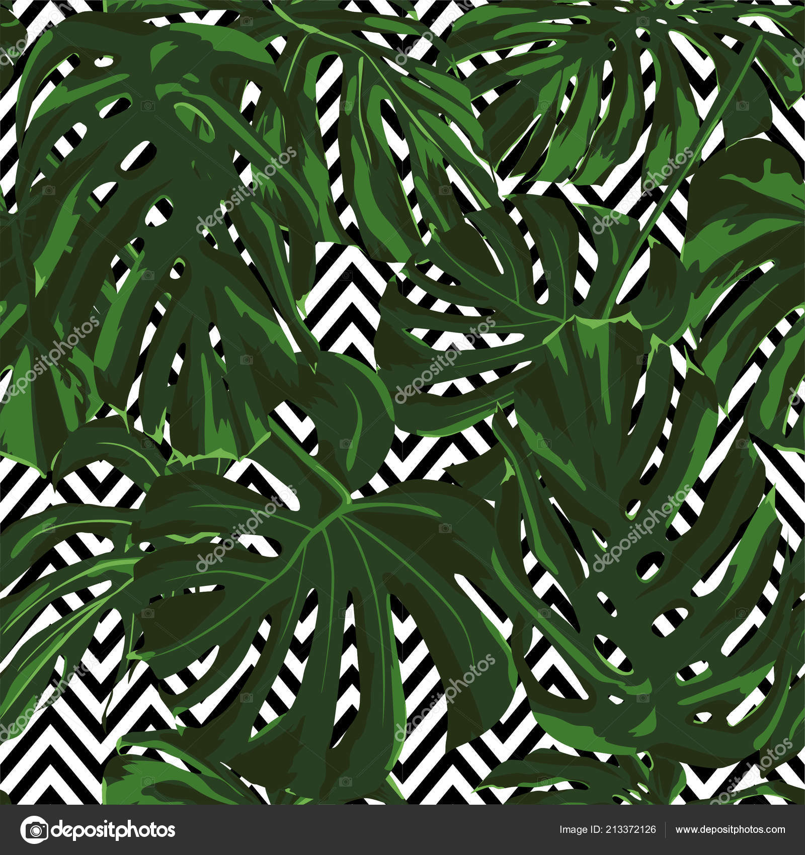 Tropical Print Jungle Seamless Pattern Vector Illustration